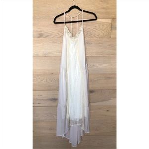 ASTR Lace Sheer Layered Cream Maxi Dress Medium